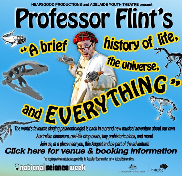 Event poster for 'Professor Flint's A brief history of life, the universe, and everything'. Click for information.